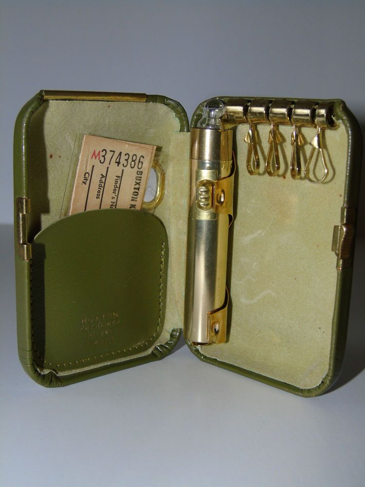 """Vintage BUXTON """"Key-Tainer"""" GREEN Milano Cowhide Leather Hinged Hard Key Case  #Buxton"""