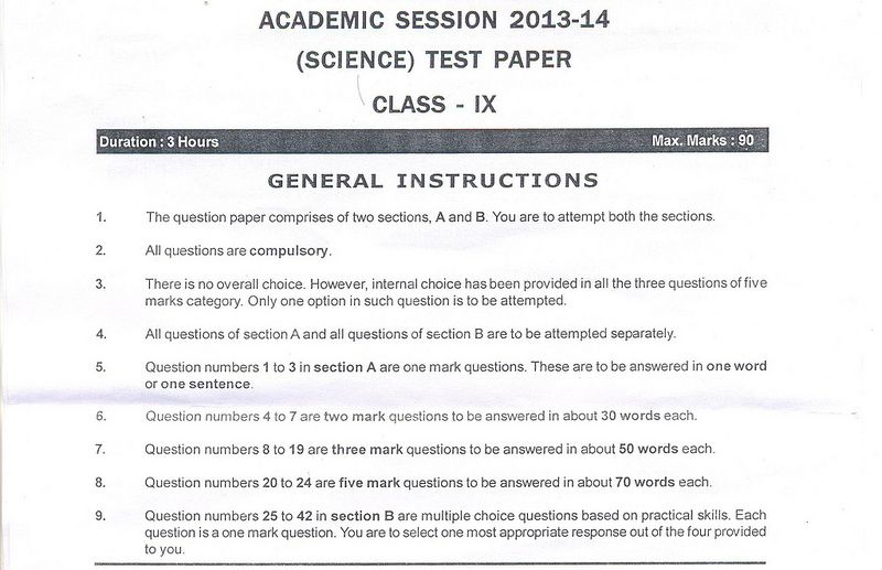 Cbse Class Ix Science Sample Paper Part A  Education