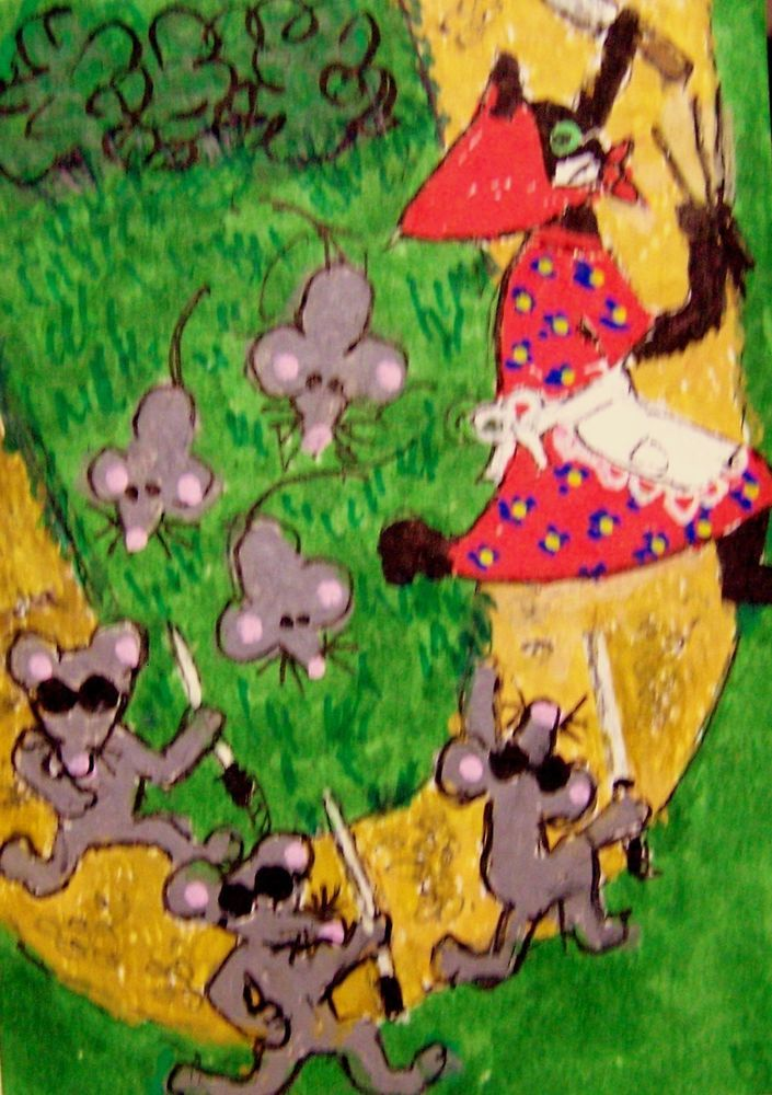 ACEO Three Blind Mice Mousery Rhyme cat 3 Blind Mice Original whimsical 'toon #whimsical  #aceo #art #eBay #3blindmice #mice #fairytale #cat