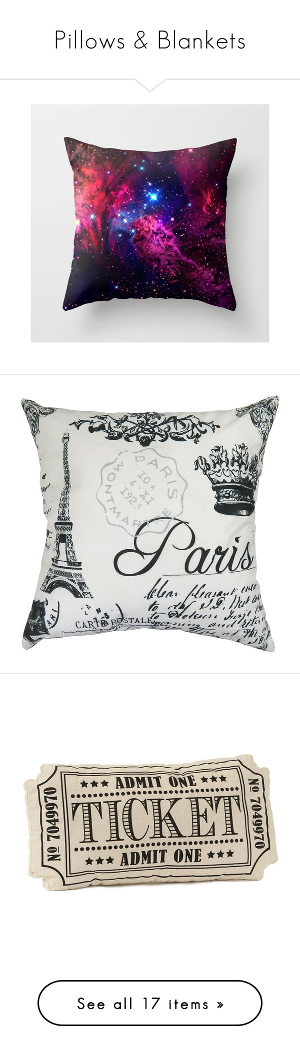 """""""Pillows & Blankets"""" by horrorkitty ❤ liked on Polyvore featuring home, home decor, throw pillows, pillows, paris, paris throw pillows, paris home decor, parisian home decor, feather throw pillows and fillers"""