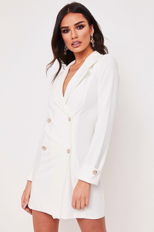 Dominique White Longline Blazer Dress (con imágenes)