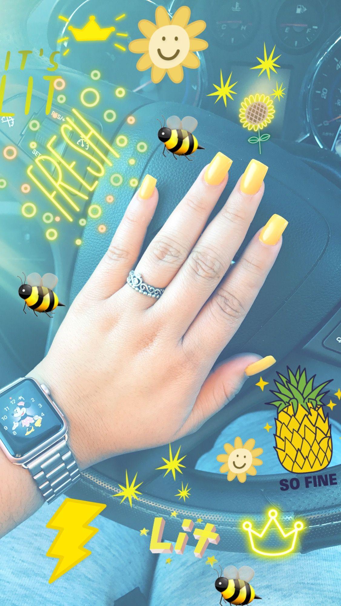 Acrylic Nails | Yellow Nails |Square Nails | Gel Color | summer ...