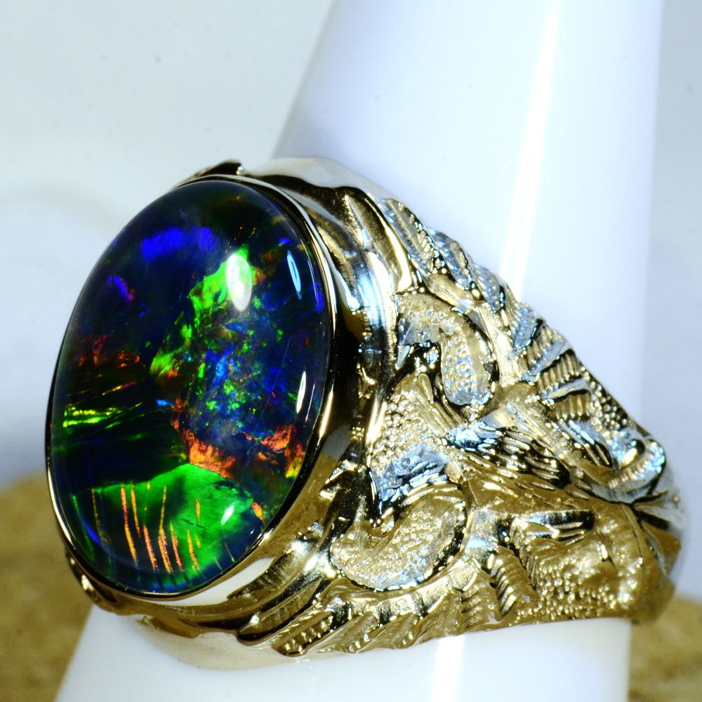 Mans solid 14k white gold australian opal ring 15191