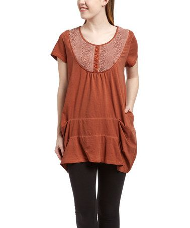Love this Orange Lace Yoke Tunic on #zulily! #zulilyfinds