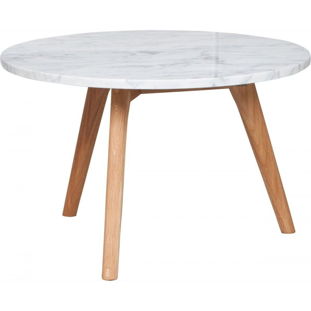 table basse ronde bois et marbre white stone l zuiver | bass and