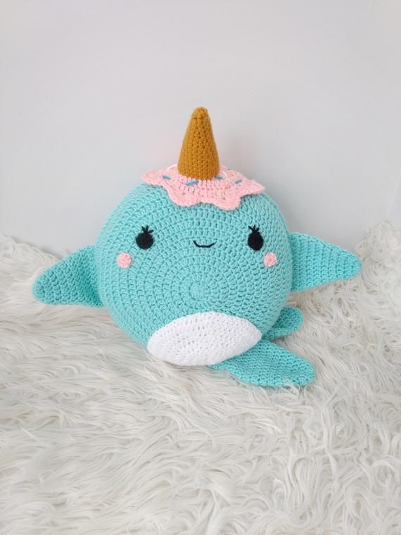Crochet Whale Pattern - Crochet Narwhal Pillow - Crochet Narwhal - Whale pillow - Crochet cushion Pattern - Amigurumi Whale Pattern - PDF