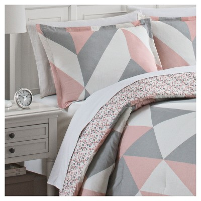 Colorblock Lena Reversible Comforter Set King 3pc Marble Hill