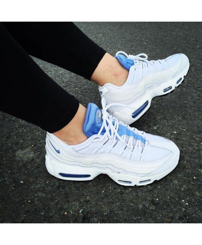 chaussure femme nike air max 90 blanche bleu royal