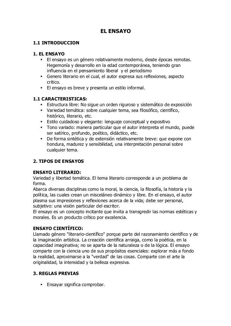 Características Y Fución Del Ensayo Sixth Grade Home
