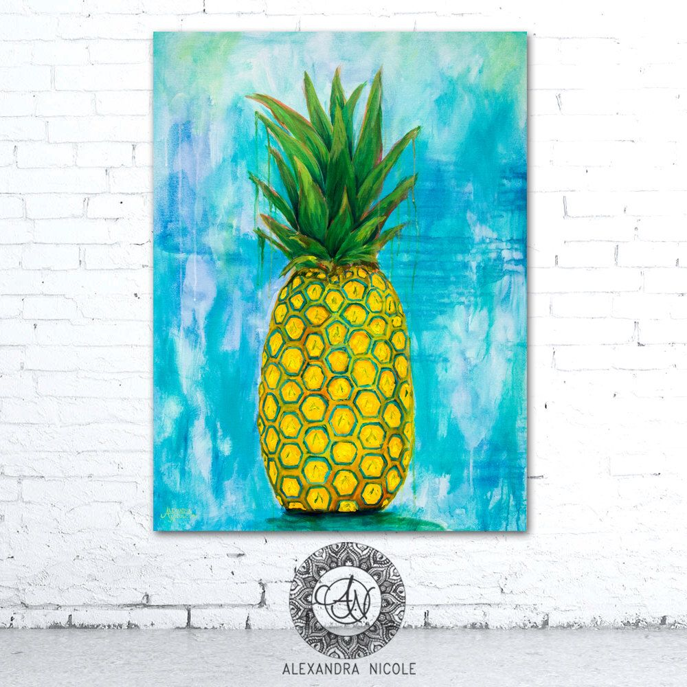 Pineapple Wall Art, Pineapple Print, Pineapple Painting, Fruit Decor ...