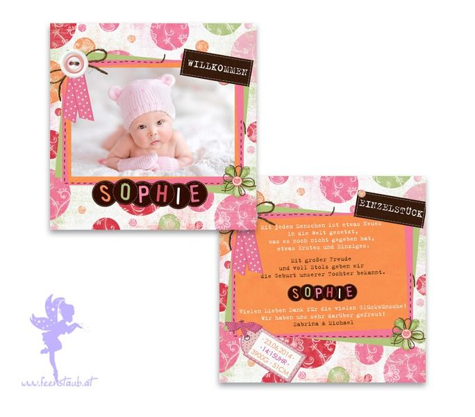 Babykarte Geburtskarte Sophie von Feenstaub auf DaWanda.com