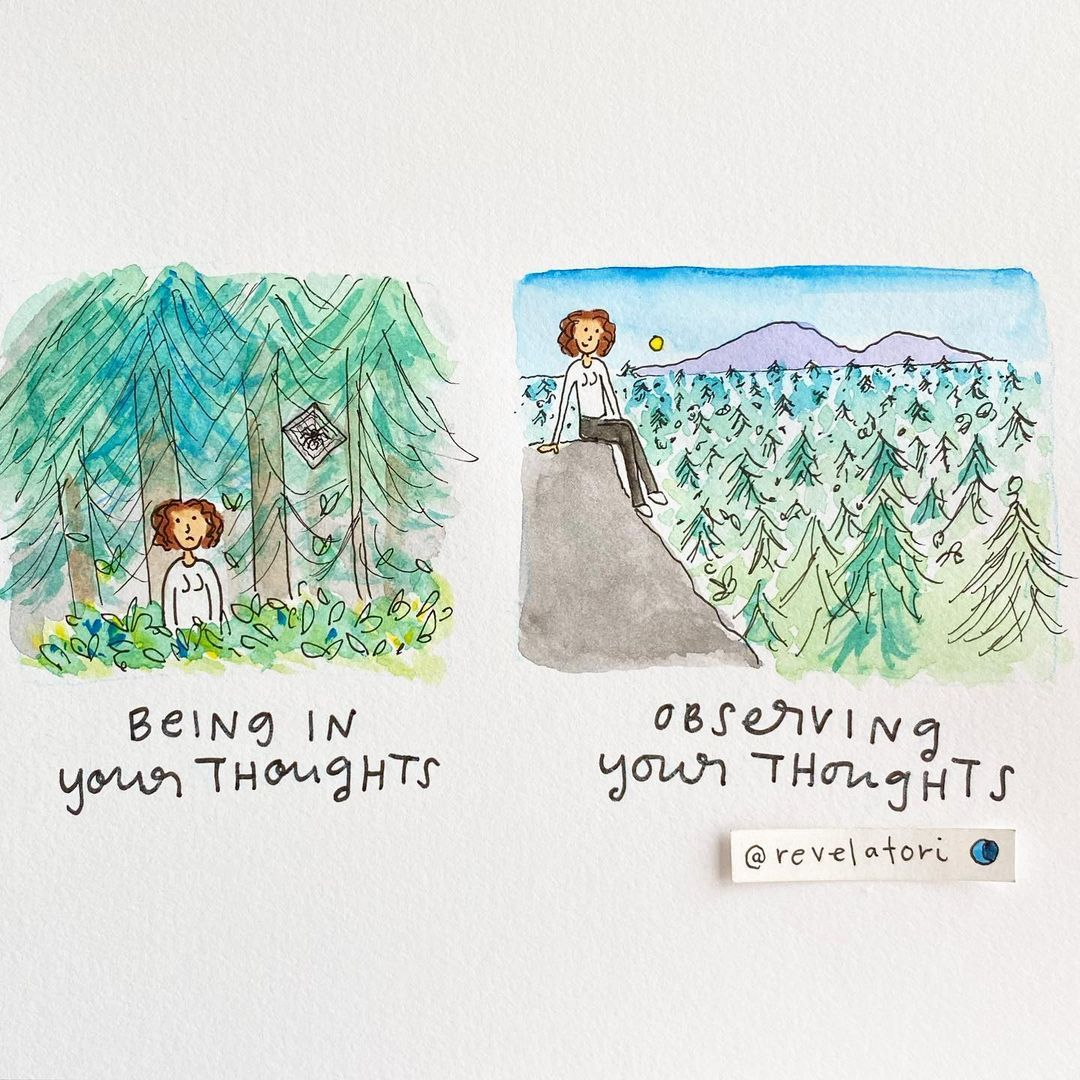 """Tori Press (@revelatori) posted on Instagram: """"The difference between being lost in the woods and having a bird's eye view of them 🌲🌳🌲"""" • Jan 21, 2020 at 10:14pm UTC Namaste, Coaching, Working On Me, Lost In The Woods, Expressive Art, Dbt, Self Improvement Tips, Coping Skills, Sign Printing"""
