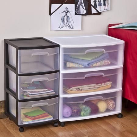 Sterilite Three Drawer Wide Cart With Clear Drawers Sterilite