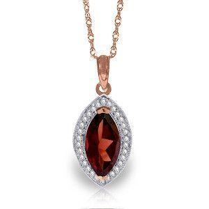 14K Solid Rose Gold Hayworth Garnet Diamond Necklace - 4961-R