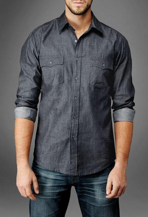 Camisa de mezclilla tipo hiervilla