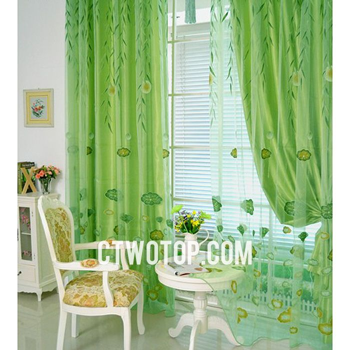 Fresh Cheap Oriental Lotus And Willow Leaf Lime Green Sheer Curtains