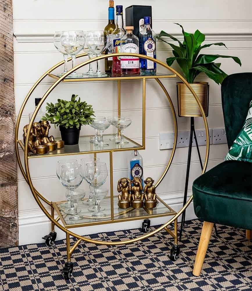 Photo of Large Round Drinks Trolley, Gold