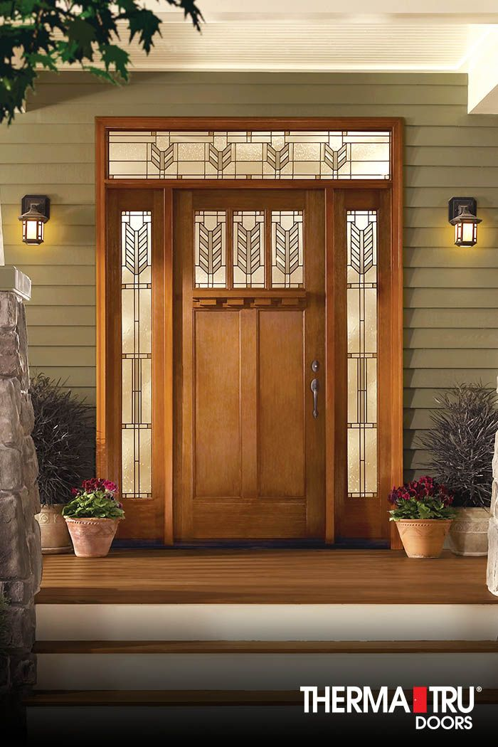 Therma Tru Classic Craft American Style Collection Fiberglass Door With  Villager Decorative Glass And Dentil Shelf.