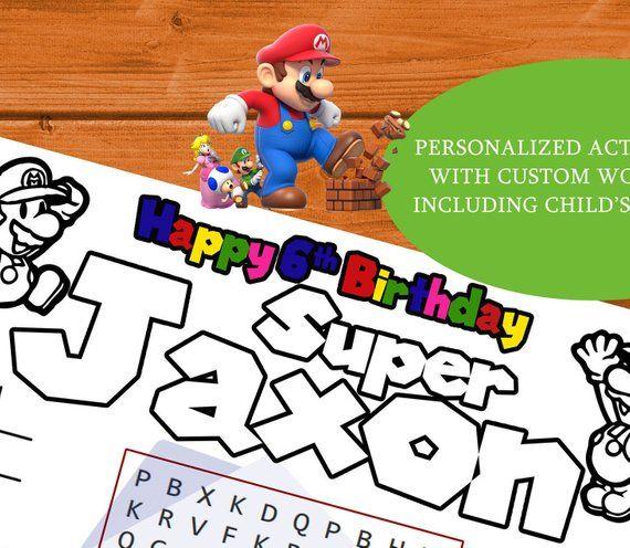 Super Mario Bros. Birthday Personalized Activity and ...