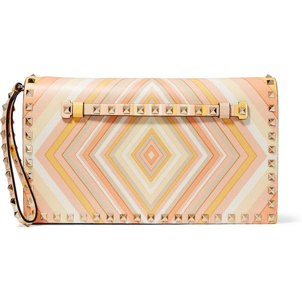 Valentino The Rockstud printed leather clutch (£1,225) ❤ liked on Polyvore featuring bags, handbags, clutches, pastel orange, genuine leather purse, red handbags, chevron purse, cell phone purse and red leather purse