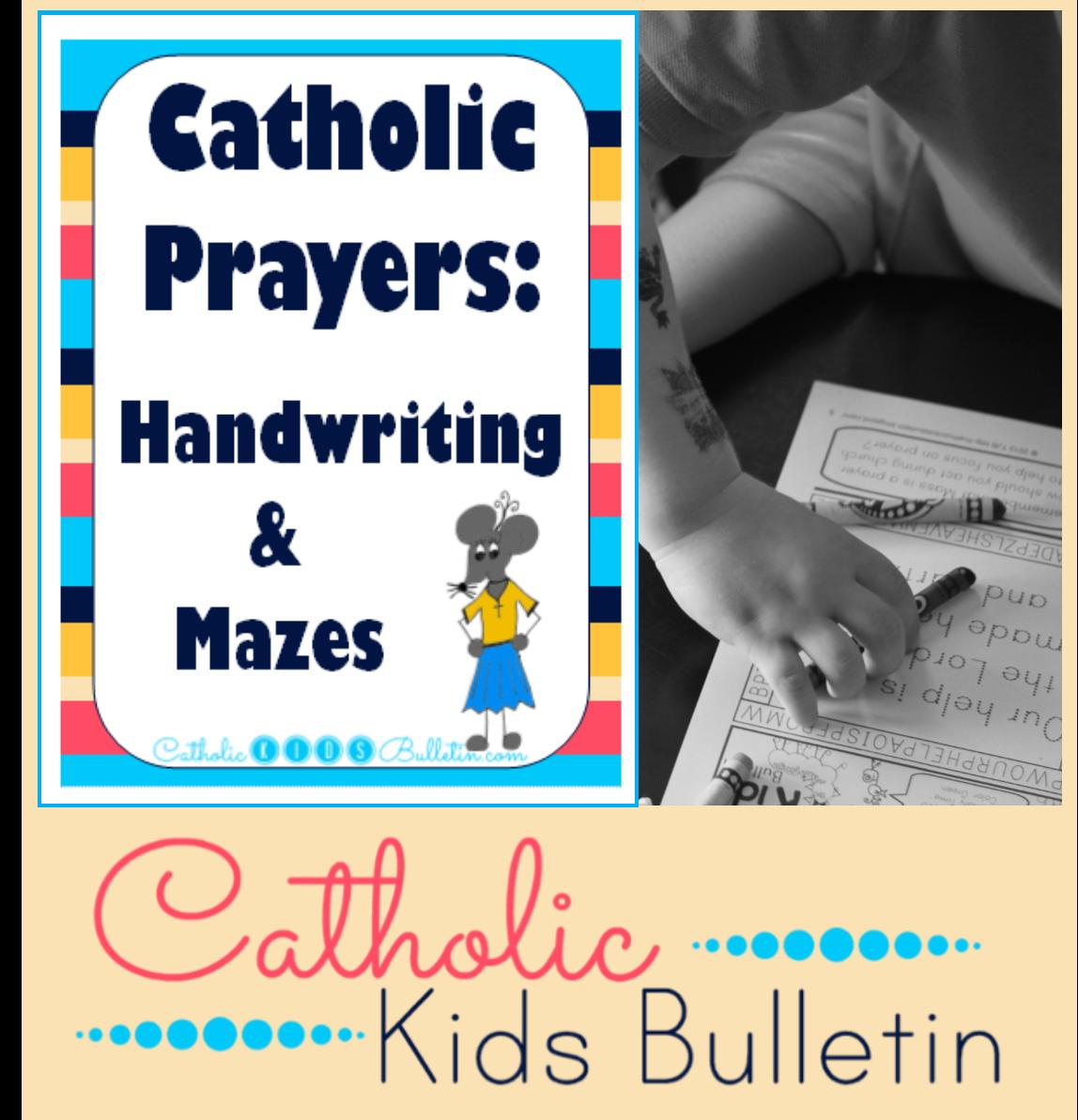 Catholic Prayers Handwriting and Mazes Printable Worksheets 2 at