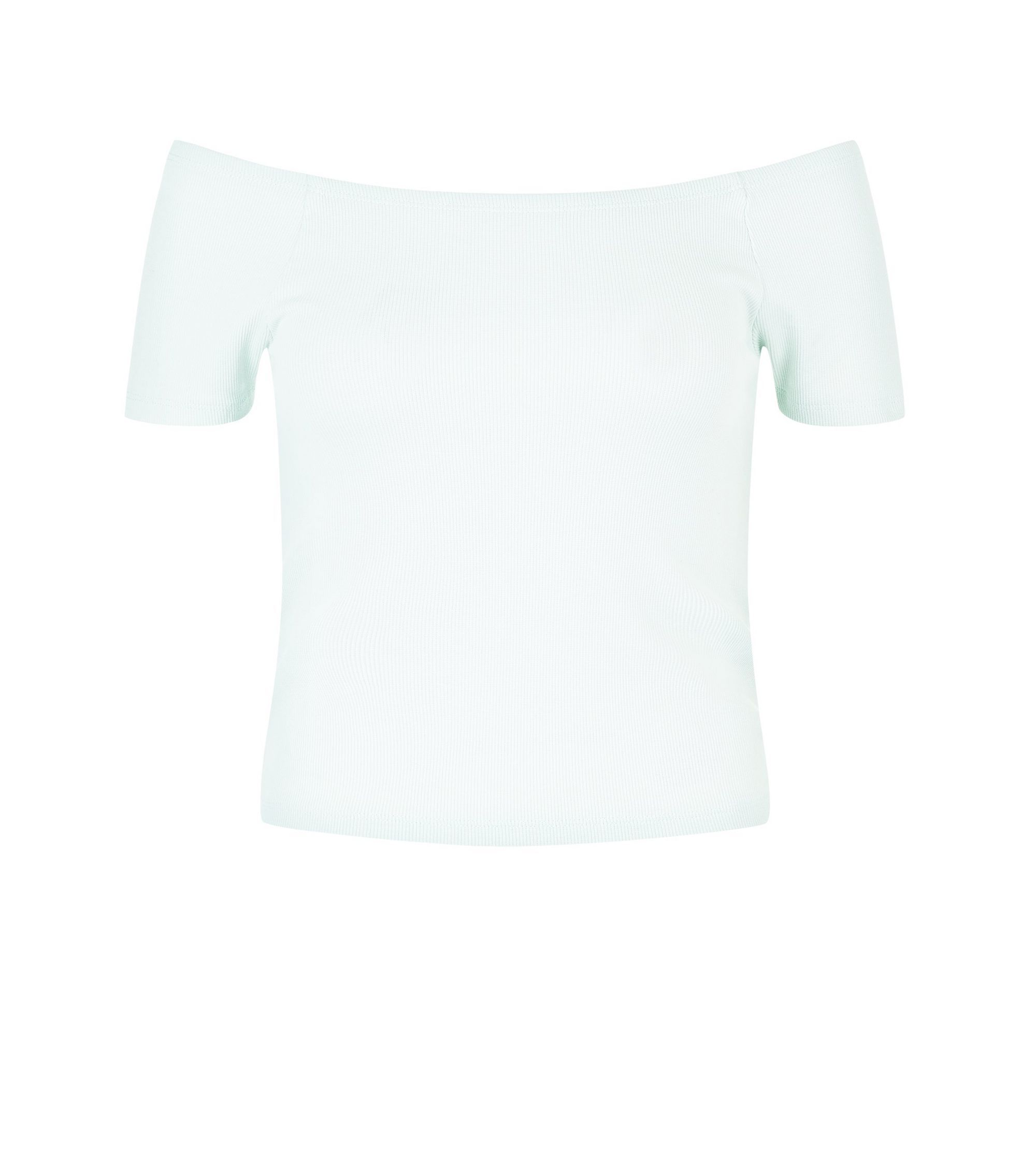 Mint Green Ribbed Bardot Neck Top  | New Look