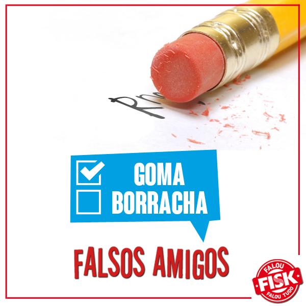 """#FalsoAmigo! """"Borracha"""" em espanhol é """"goma""""! Caso queira se referir às balas de goma, utilize """"gominolas"""" #DicaFisk"""