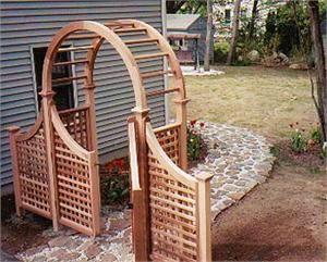 Nantucket Cedar Arbor With Gate Amp Wings Cedar Arbor Wooden Pathway Narrow Garden