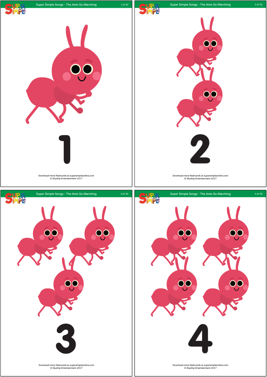 The Ants Go Marching One By One Hurrah Hurrah Practice Counting Up To 20 With These Downloadable Flashcards For Ants Preschool Activity Preschool Activities [ 1280 x 908 Pixel ]