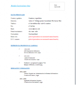Imagen Curriculum Vitae Modelos De Curriculum Vitae Curriculum