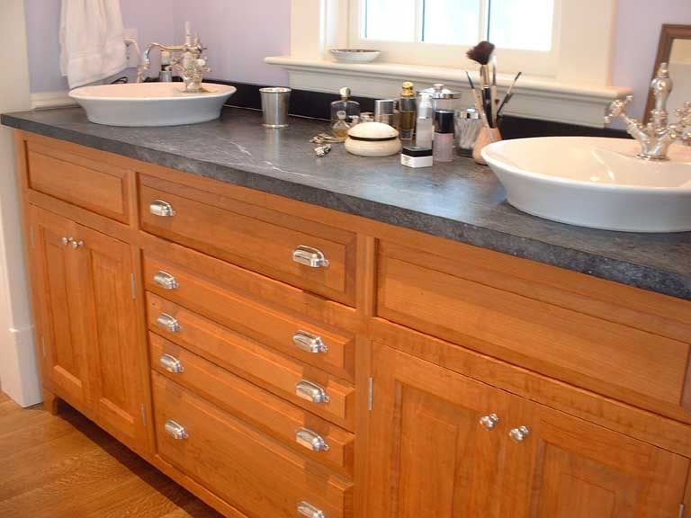 Soapstone Bathroom Vanity | Curly Cherry Bathroom Vanity With Soapstone Top