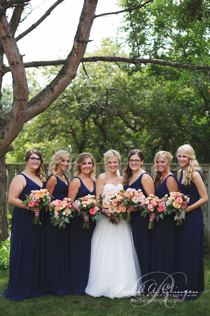 A Beautiful Navy And Peach Wedding At The Apple Orchard