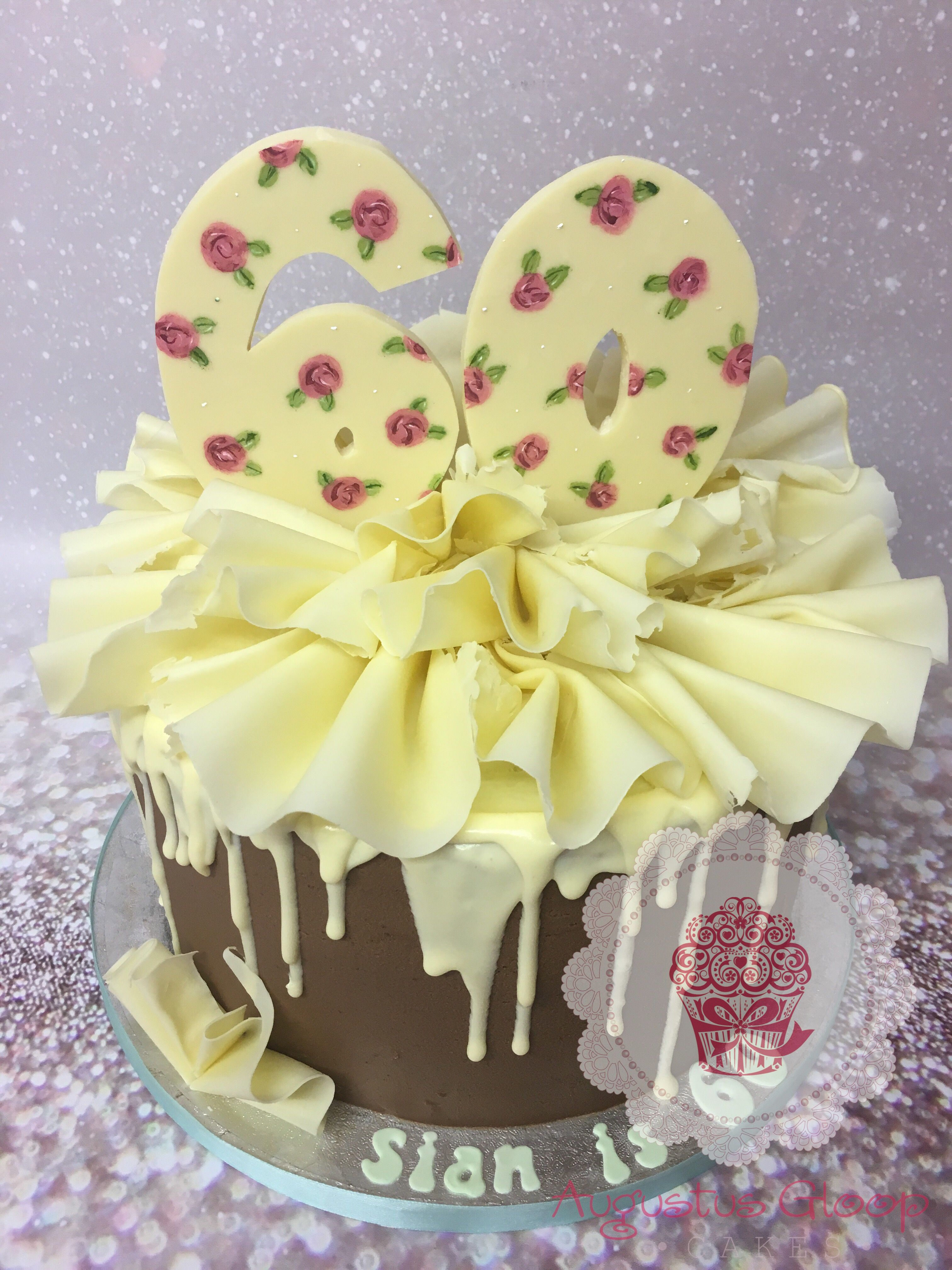 Chocolate frill drip painted Birthday cake Backen