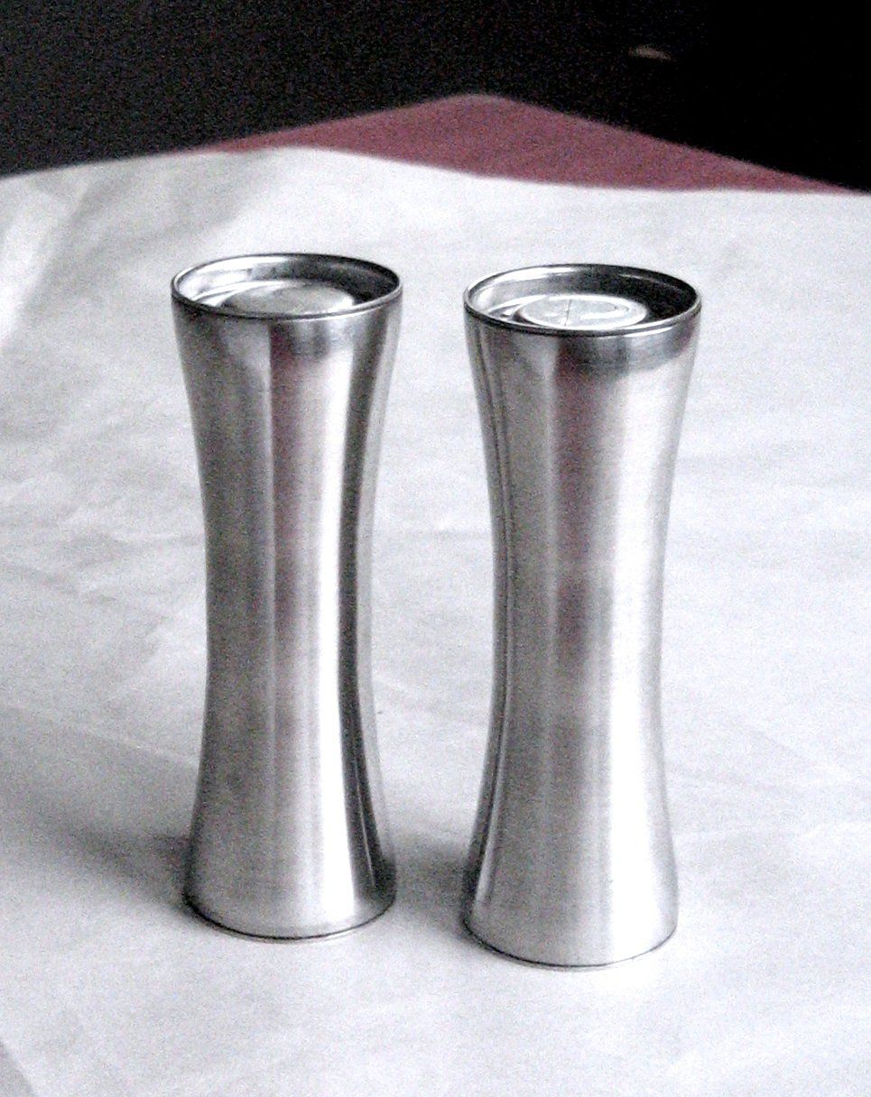 Modern Salt Pepper Shakers Mid Century Modern Design Stainless Steel Salt Pepper Shakers