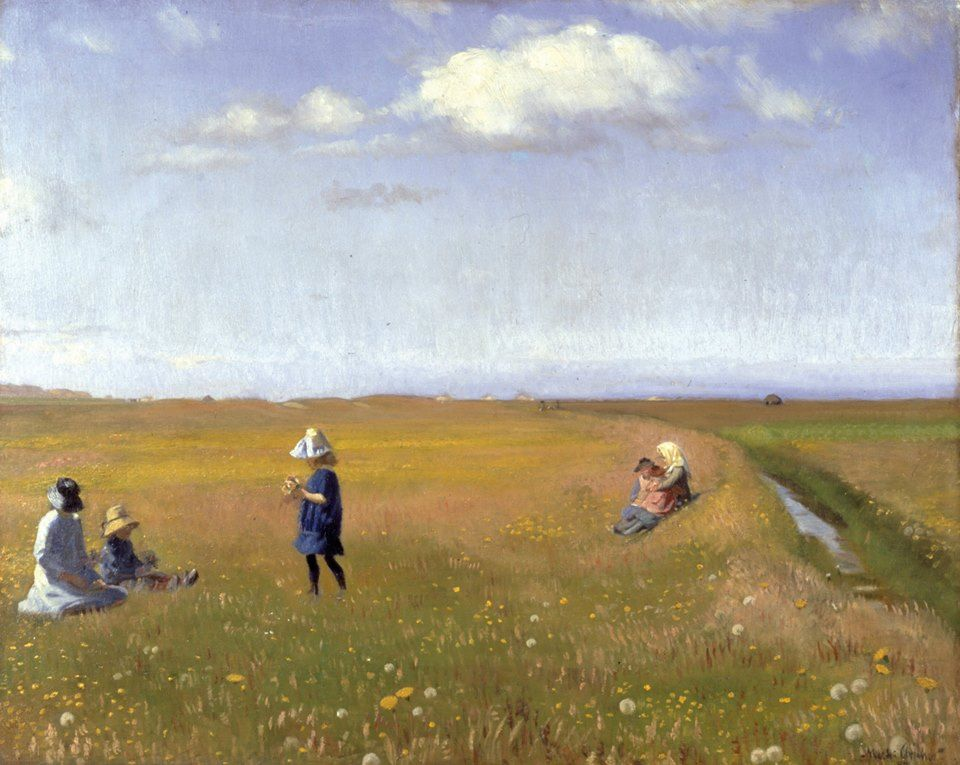 "https://www.facebook.com/skagensmuseum ""Children and young girls picking flowers in a field north of Skagen"" ""Børn og unge piger plukker blomster på en mark nord for Skagen"" (1887) By Michael Peter Ancher, from Rutsker on the island of Bornholm, Denmark (1849 - 1927) - oil on canvas; 63 x 79 cm - © Skagens Museum, Skagen, Denmark  http://www.skagensmuseum.dk/ https://www.facebook.com/skagensmuseum"