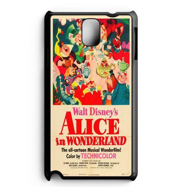 Vintage Disney Poster Alice In Wonderland Samsung Galaxy Note 3 Case