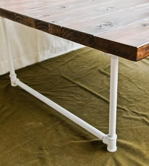 Reclaimed Redwood Coffee Table with White Industrial Legs