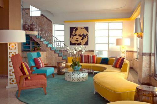 farbige wohnzimmergestaltung mit retro flair | innenarchitektur ... - Wohnzimmer Retro Style