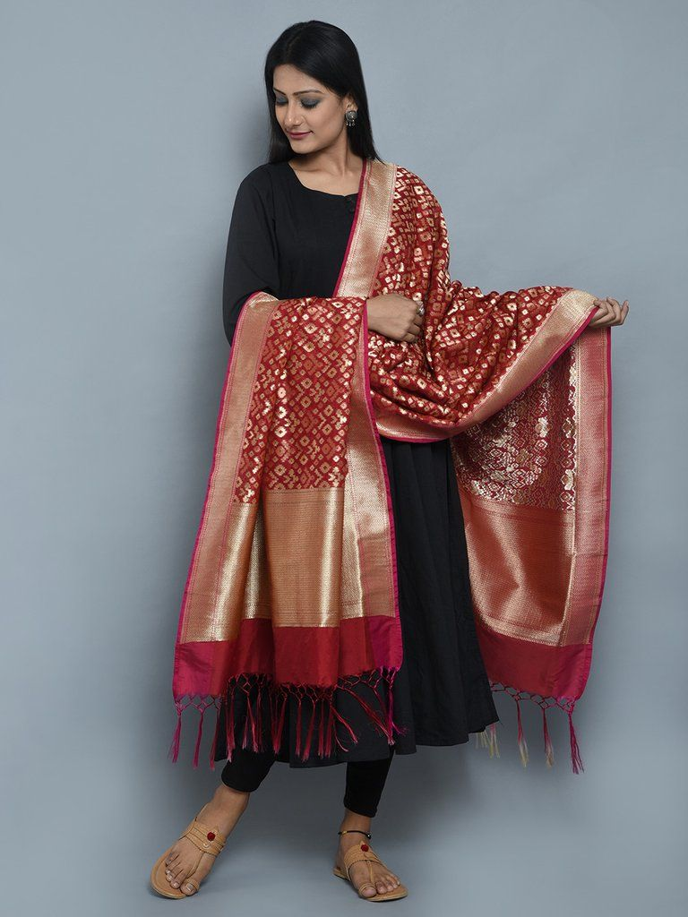 26ef2d47eb Maroon Pink Art Silk Banarasi Dupatta