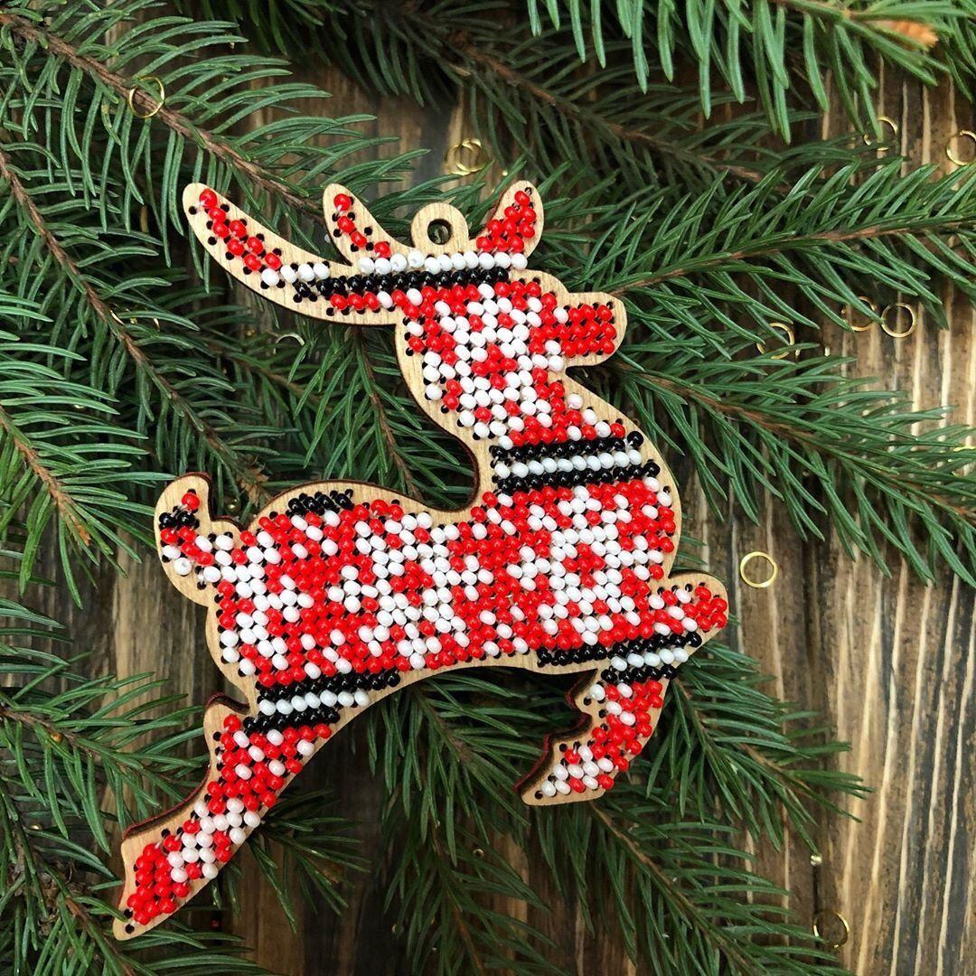 Christmas Deer Diy Gift Xmas Tree Ornament Craft Kit Beadwork
