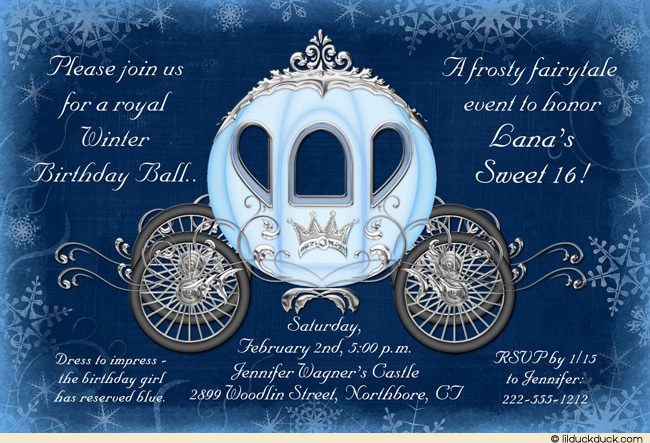 Cinderella Winter Ball Invitation Royal Birthday Sweet 16 Carriage