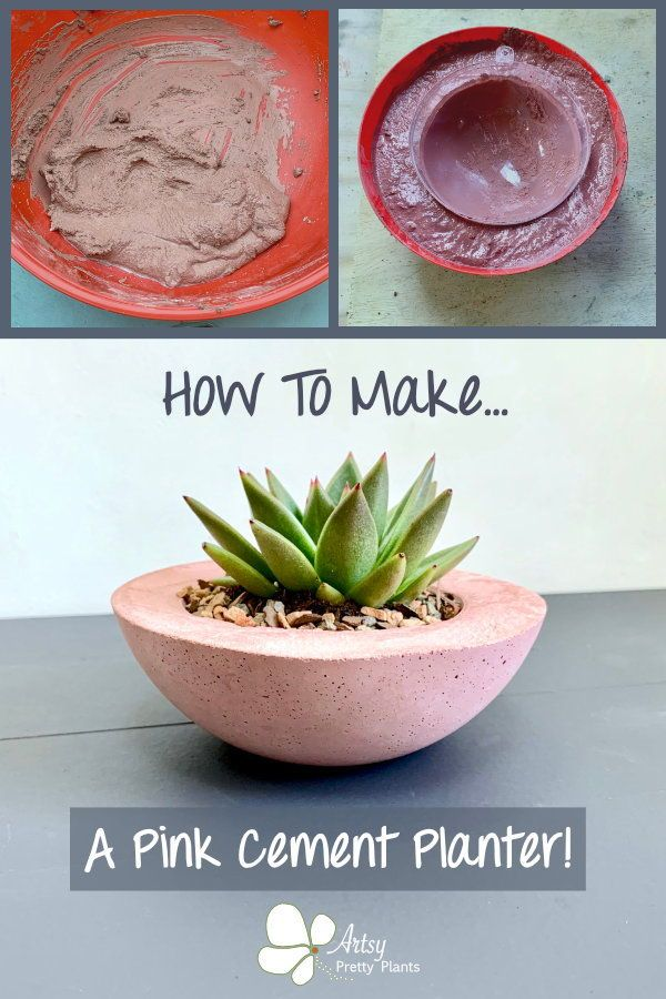 How To Make A Colored Cement Planter in Pink! is part of Cement planters, Cement pots diy, Cement diy, Diy cement planters, Cement crafts, Diy planters outdoor - A DIY tutorial for making a colored cement planter  How to add pigment to a cement pot & even make a mold for the drainage to help your succuldents thrive