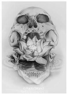geometric lotus skull tattoo - Google Search -   23 skull tattoo ideas