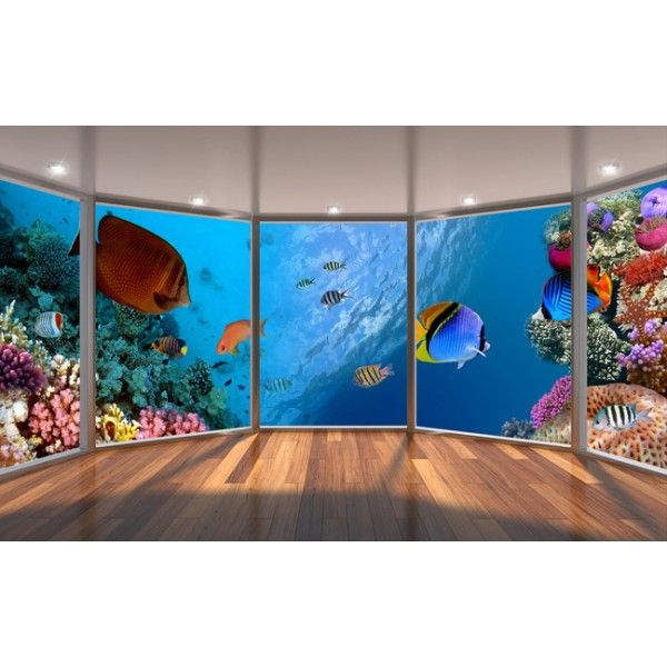 papier peint 3d personnalis paysage fond marin les coraux et les poissons papier peint 3d. Black Bedroom Furniture Sets. Home Design Ideas