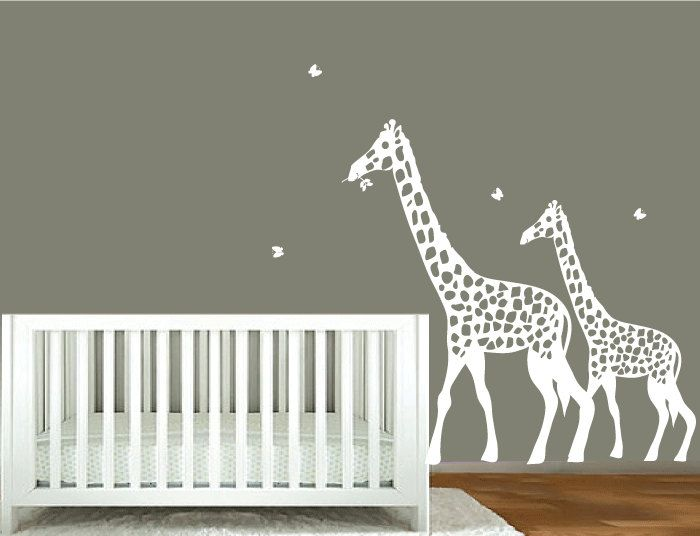 decal wall white giraffe silhouette childrensmodernwalldecal
