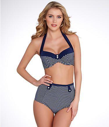 c7615a953d Panache Britt Stripe High-Waist Bikini Bottom | Bare Necessities ...