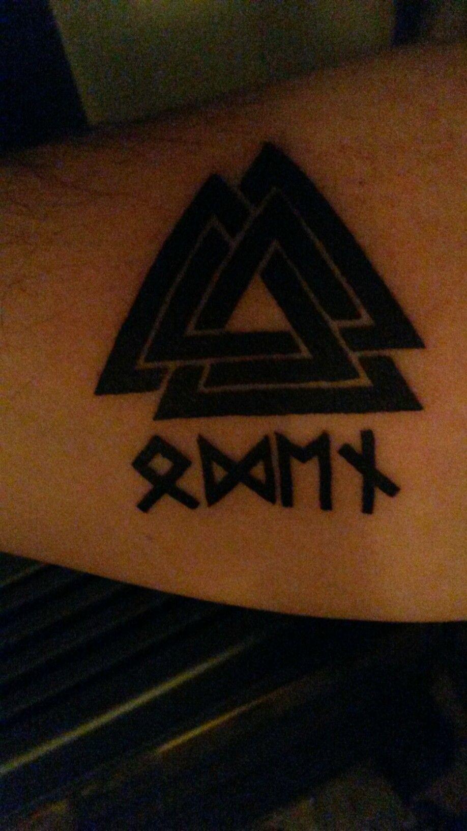Viking valknut runes odin tattoo poetry for Valknut symbol tattoo