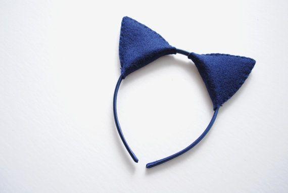 Wool Felt Blue Cat Plush Ears Headband by TheThreadHouse on Etsy