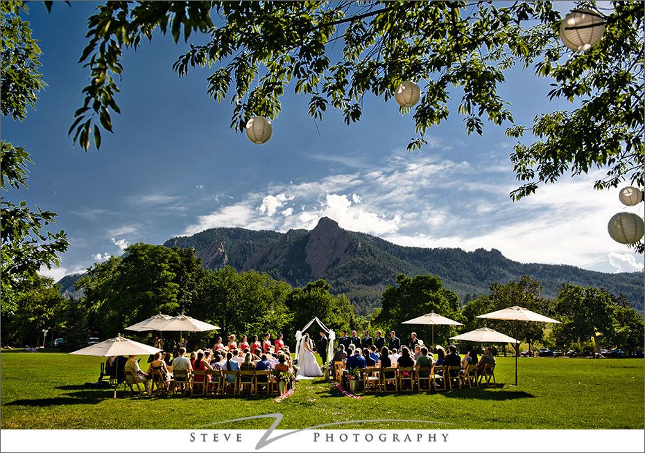 A Wedding Ceremony On The Chautauqua Lawn In Front Of Boulder S Flatirons
