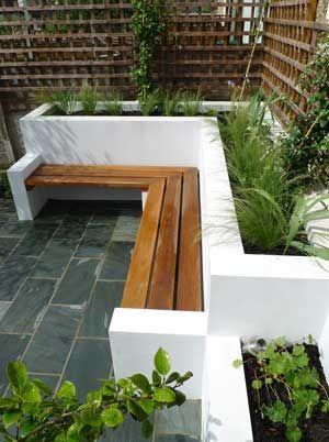 contemporary garden design white concrete raised beds built in bench seat